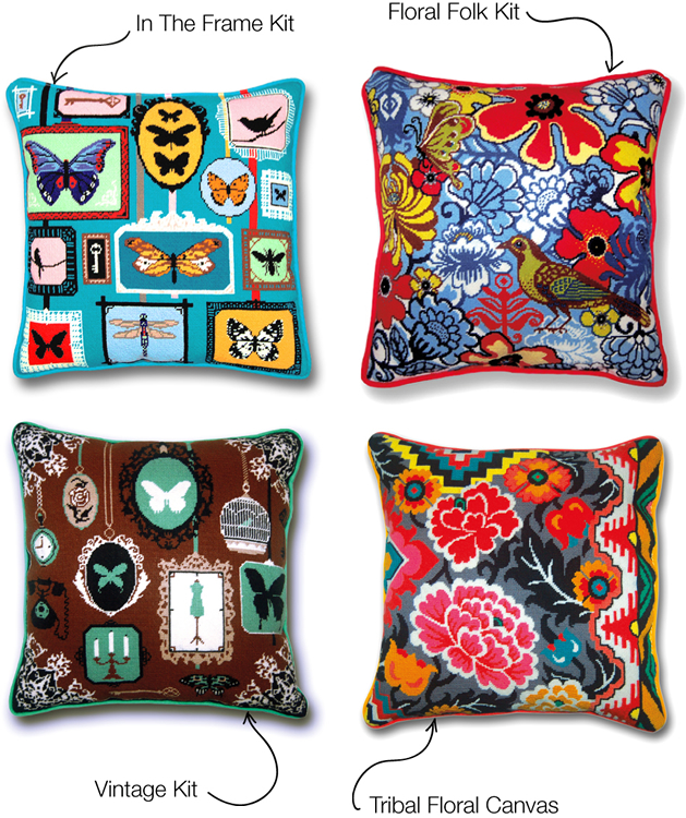 Modern Needlepoint Kits For Pillows : Contemporary needlepoint kits, stitch kits, tapestry kits, needlepoint cushions, basketweave ...