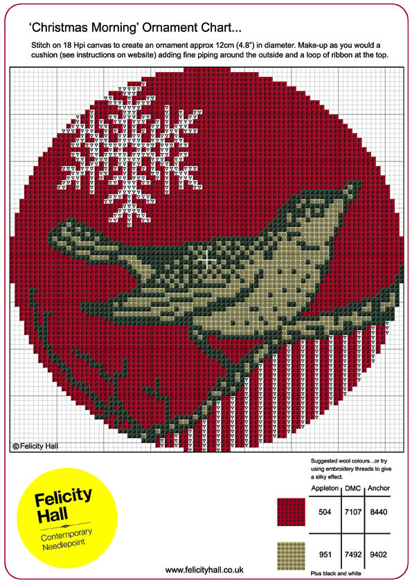 cross stitch cahrt or needlepoint chart for christmas ornament