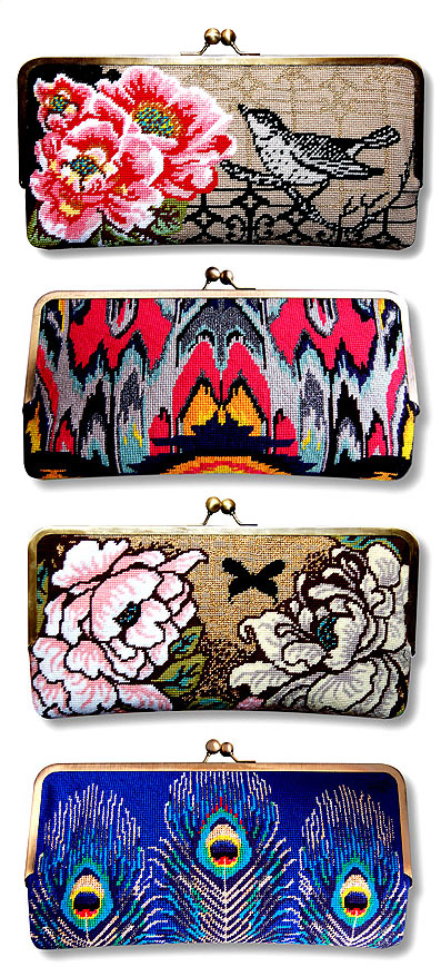needlepoint clutch bag kits designed by felicity hall