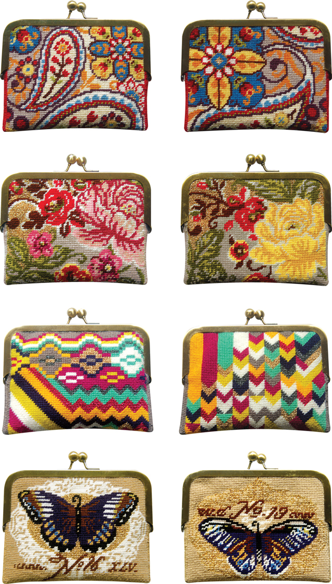 needlepoint purse kits, needlepoint coin purse stitch kits by Felicity Hall